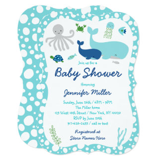 Nautical Under The Sea Baby Shower Die Cut Card