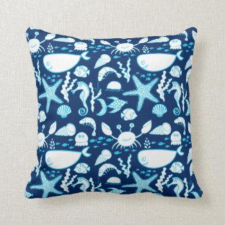Nautical Under the Sea Cartoon Cute Blue Cushion