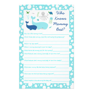 Nautical Under The Sea Who Knows Mommy Best Game Flyer
