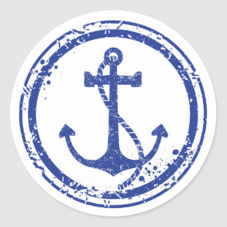 "Nautical Vintage Blue Anchor Sticker - 1.5"" Round"