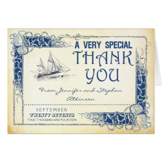 nautical vintage boat thank you cards