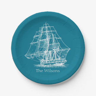 Nautical Vintage Sailing Ship Personalized Paper Plate