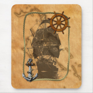 Nautical Vintage Ship And Map Mouse Pad