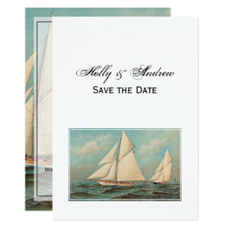 Nautical Vintage Yachts Racing #1 Save the Date Card