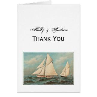 Nautical Vintage Yachts Racing #1 Thank You Card