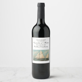 Nautical Vintage Yachts Racing #1 Wine Label