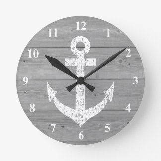 Nautical wall clock | boat anchor and wood panels