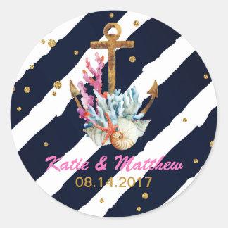 Nautical Watercolor Anchor Seashell Wedding Classic Round Sticker