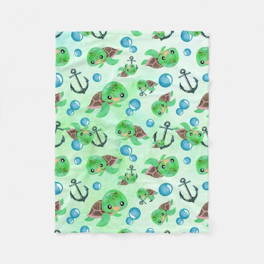 Nautical Watercolor Sea Turtle Anchors & Bubbles Fleece Blanket