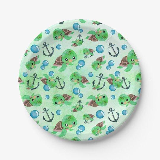 Nautical Watercolor Sea Turtle Anchors & Bubbles Paper Plate
