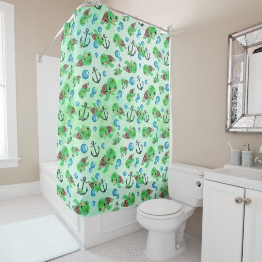 Nautical Watercolor Sea Turtle Anchors & Bubbles Shower Curtain