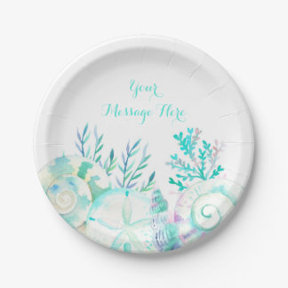 Nautical Watercolor Seashell Bridal Shower 7 Inch Paper Plate