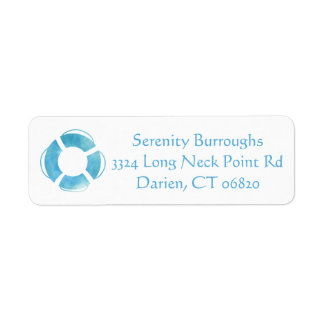 Nautical Watercolor Ship Anchor Blue Turquoise Return Address Label