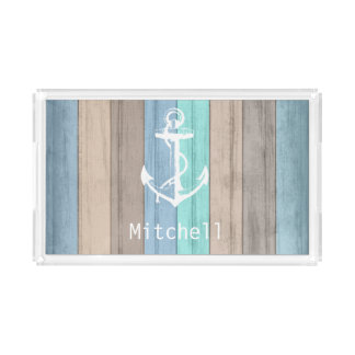 Nautical Weathered Summer Beach Wood Anchor Acrylic Tray