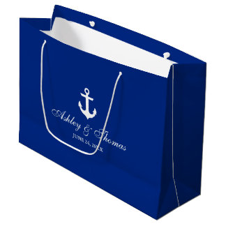 Nautical Wedding Anchor Blue and White Large Gift Bag