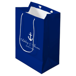 Nautical Wedding Anchor Blue and White Medium Gift Bag