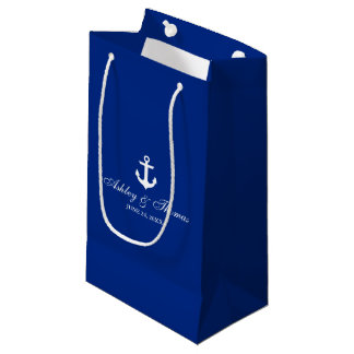 Nautical Wedding Anchor Blue and White Small Gift Bag