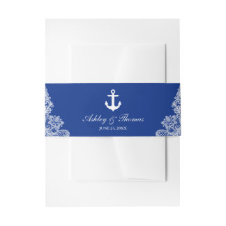Nautical Wedding Anchor Blue Lace Invitation Belly Band