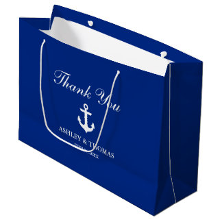 Nautical Wedding Anchor Blue Large Gift Bag
