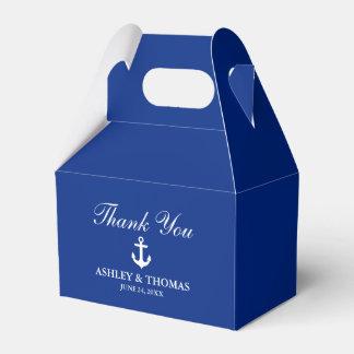Nautical Wedding Anchor Blue Thank You Gable Favour Box