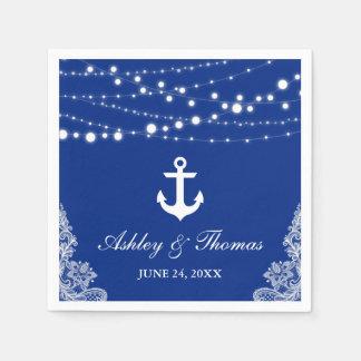 Nautical Wedding Anchor Lights & Lace Blue Disposable Napkin