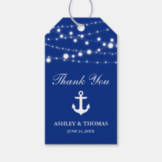 Nautical Wedding Anchor String Lights Blue Gift Tags