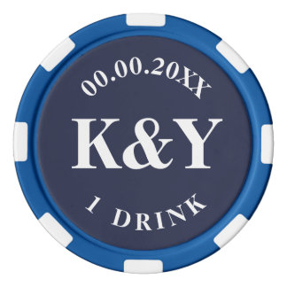 Nautical wedding custom drink token poker chips