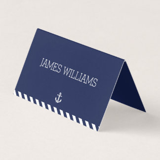 Nautical Wedding Folded Place Cards With Stripes
