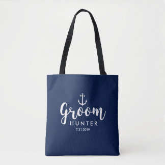 Nautical Wedding Groom Personalized White Anchor Tote Bag