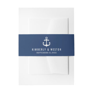 Nautical Wedding Invitation Belly Band / Navy