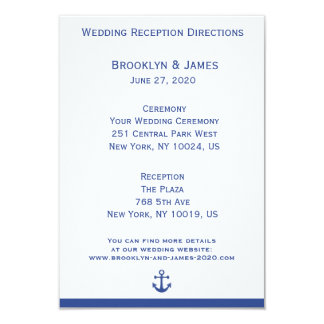 Nautical Wedding Maps And Directions Card