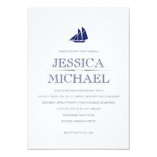 Nautical Wedding Navy Blue Boat With Sails Custom 13 Cm X 18 Cm Invitation Card