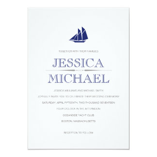 Nautical Wedding Navy Blue Boat With Sails Custom Card
