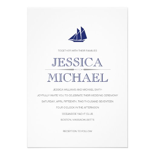 Nautical Wedding Navy Blue Boat With Sails Custom Invitations