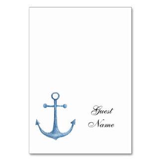 Nautical wedding place card Beach table name Blue