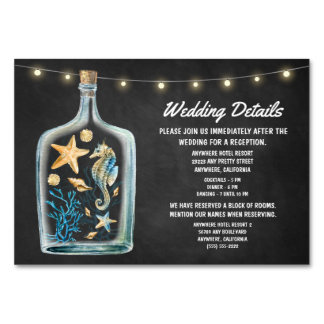 Nautical Wedding Reception Accommodation Cards Table Card