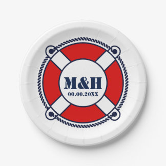 Nautical wedding ring buoy custom monogram paper plate