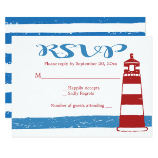 Nautical Wedding RSVP Red Lighthouse Blue Stripes Card