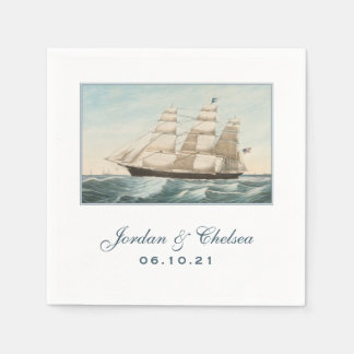 Nautical Wedding | Sailing Clipper Ship Custom Paper Napkin