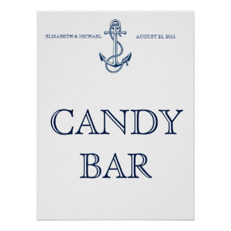Nautical wedding signage, Candy Bar or your text Poster