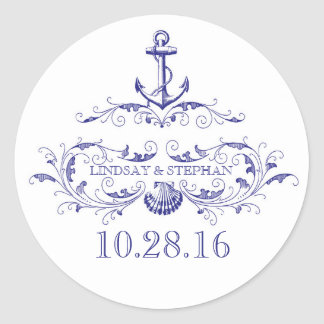 Nautical wedding stickers with anchor