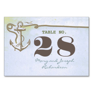 Nautical Wedding Table Number Card Table Cards