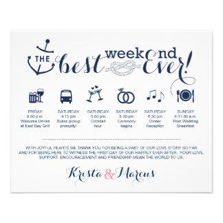 Nautical Wedding Weekend Itinerary 11.5 Cm X 14 Cm Flyer
