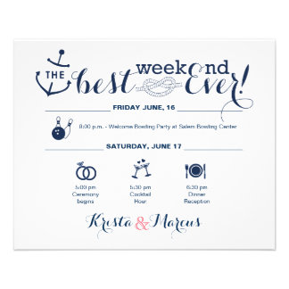 Nautical Wedding Weekend Itinerary 2 11.5 Cm X 14 Cm Flyer