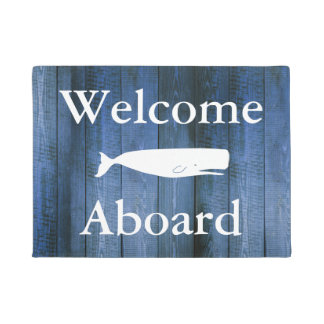 Nautical Welcome Aboard White Whale & Blue Wood Doormat