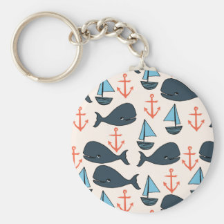 Nautical Whale Boat Anchor Blue / Andrea Lauren Basic Round Button Key Ring