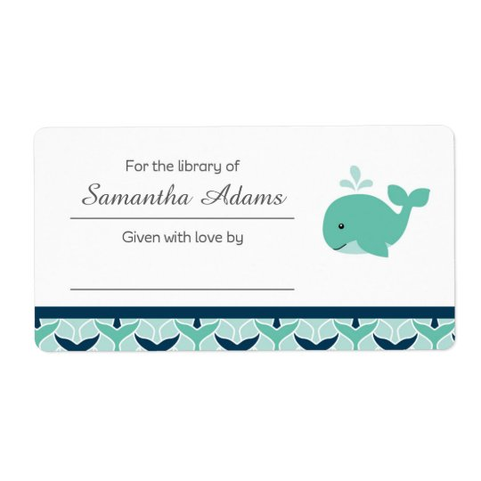 Nautical Whale Bookplate Label Sticker Shipping Label