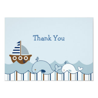 Nautical Whale Sailboat Thank You Note Cards 13 Cm X 18 Cm Invitation Card