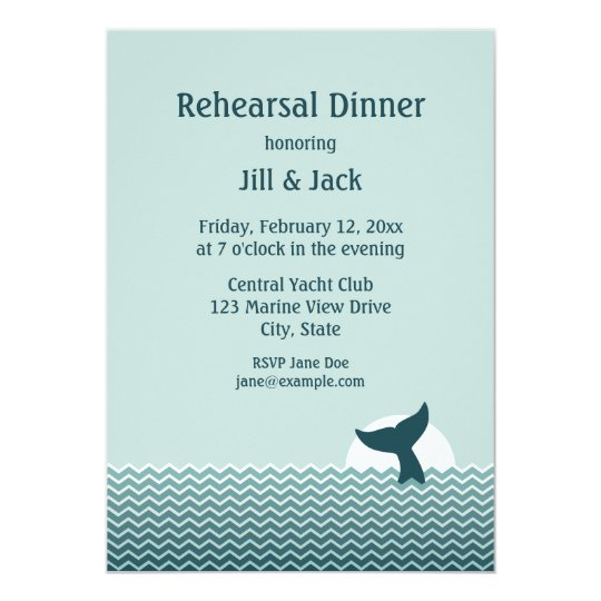 Nautical Whale Tail Rehearsal Dinner Invites