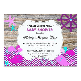 Nautical Whales Baby Girl Invitations